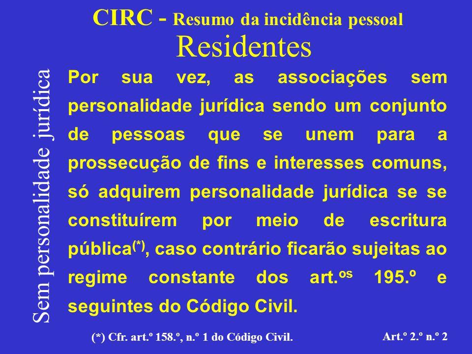 CIRC - Resumo da incidência pessoal Residentes Sem personalidade jurídica Art.º 2.º n.º 2 Art.º 158º - Aquisição da personalidade 1.