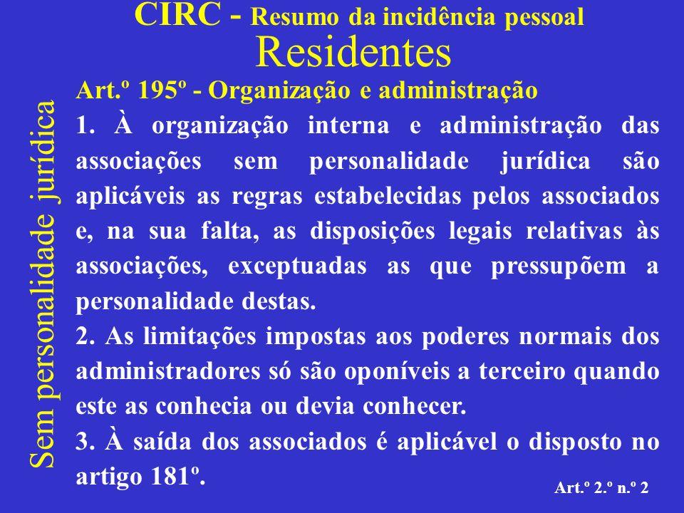 CIRC - Resumo da incidência pessoal Residentes Sem personalidade jurídica Art.º 2.º n.º 2 Heranças jacentes: As heranças abertas, mas ainda não aceites nem declaradas vagas para o Estado (art.º 2046.º do Código Civil).