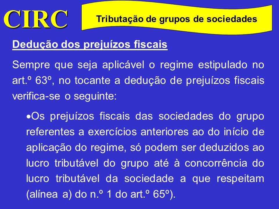 CIRC C Dedução dos prejuízos fiscais Os prejuízos fiscais do grupo apurados em cada exercício de aplicação do regime só podem ser deduzidos aos lucros tributáveis do grupo (alínea b) do n.º 1).