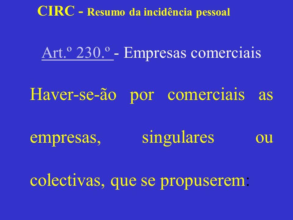 CIRC - Resumo da incidência pessoal Resumo de hipóteses Sociedade ObjectoFormaEnquadramento Civil S/forma comercial Civil C/forma comercial Comercial S/forma comercial Comercial C/forma comercial Comercial