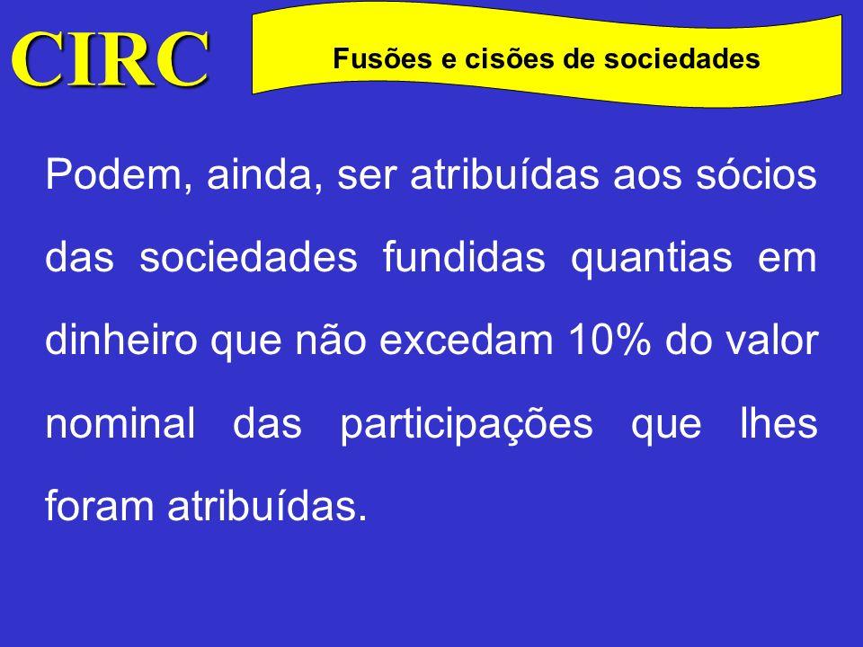 CIRC C Fusões e cisões de sociedades Relativamente à cisão podem ocorrer três modalidades (art.º 118.º do CSC): Cisão simples; Cisão – dissolução; Cisão – fusão;
