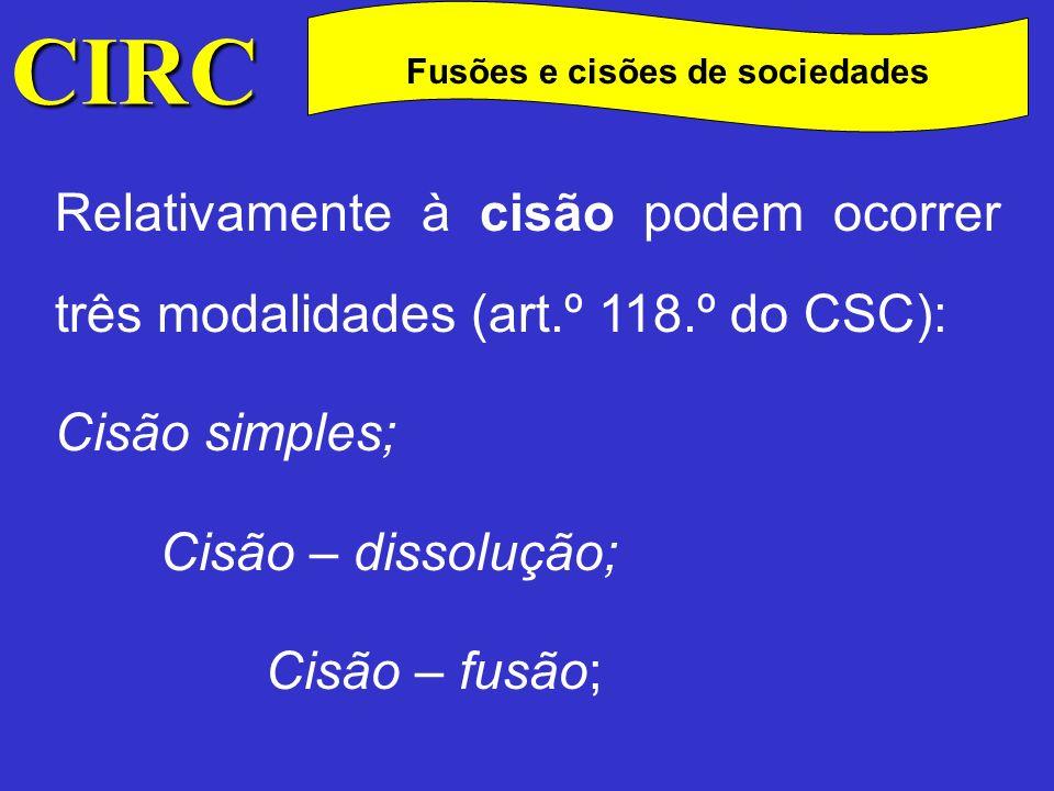 CIRC C Fusões e cisões de sociedades Cisão simples – consiste em destacar parte do património de uma sociedade, para com ela constituir outra sociedade;