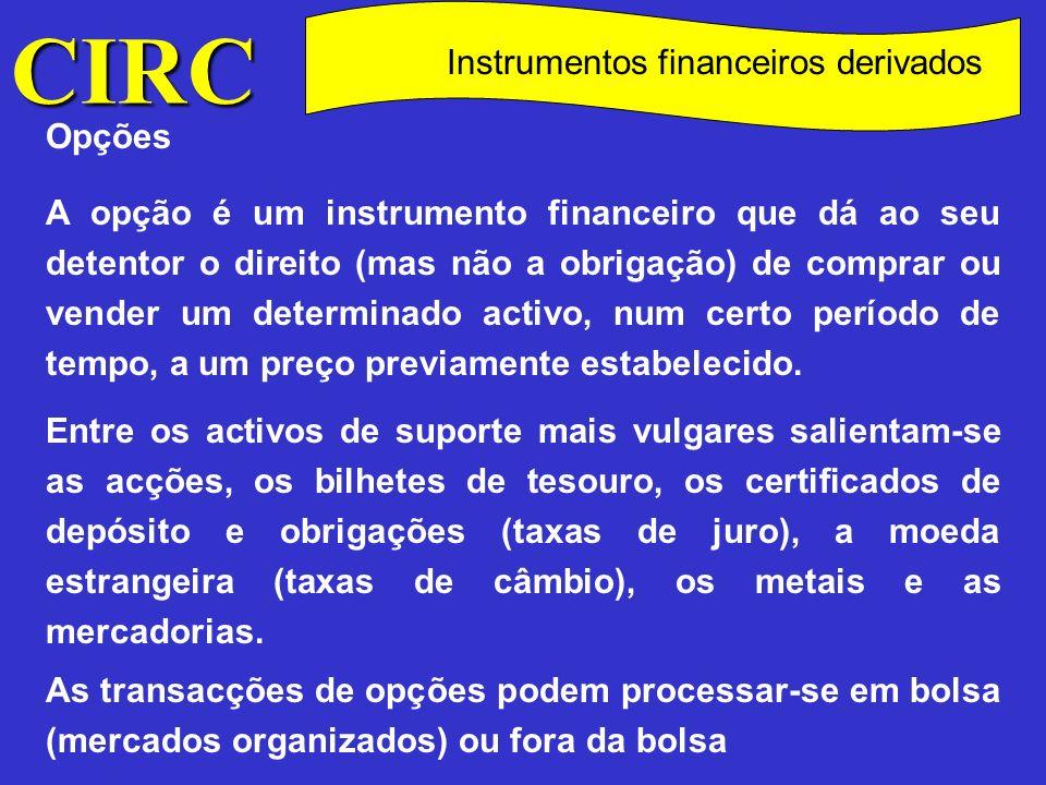 CIRC C Instrumentos financeiros derivados Swaps Um swap é uma transacção financeira pela qual duas partes acordam, durante um período de tempo pré-determinado, a troca de pagamentos de juros, ou de capital e juros, de acordo com uma regra pré - estabelecida.
