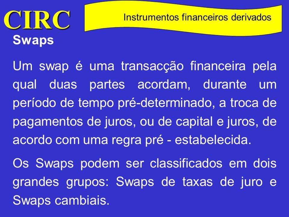 CIRC C Instrumentos financeiros derivados Refere o n.º 1 do art.º 78.º que na consideração dos proveitos ou ganhos e custos ou perdas relativos a instrumentos financeiros derivados, observar-se-á o seguinte () : () Sobre este assunto vide circ.