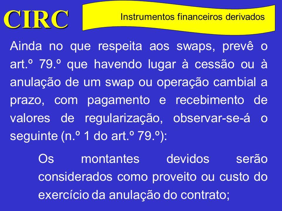 CIRC C Instrumentos financeiros derivados Não é aceite como custo para efeitos fiscais qualquer pagamento de compensação que exceda os pagamentos de regularização previstos no contrato original, ou os preços de mercado aplicáveis a operações com as mesmas características, bem como o custo imputado à aquisição de uma posição contratual de um swap preexistente que exceda os pagamentos de regularização previstos no contrato original ou os preços de mercado com idênticas características (n.º 2 do art.º 79.º).