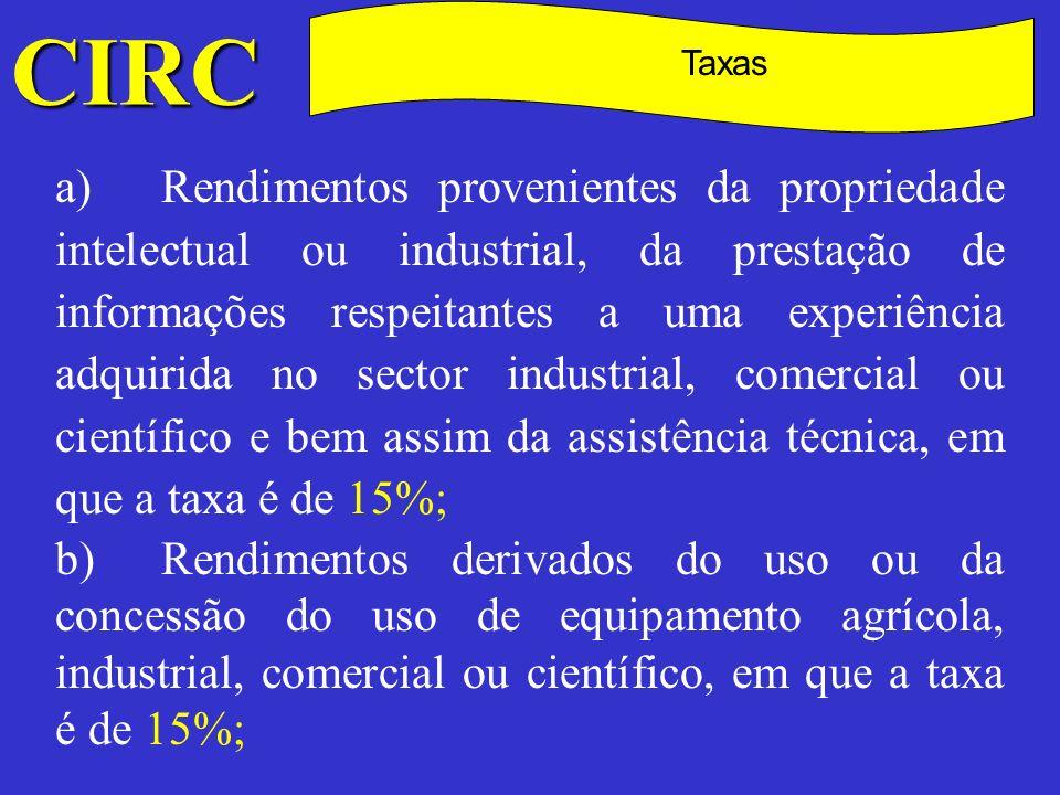 CIRC C Taxas c)Rendimentos dos títulos de dívida e outros rendimentos de aplicação de capitais, exceptuados os lucros colocados à disposição por entidades sujeitas a IRC e o valor atribuído aos associados em resultado da partilha que, nos termos do artigo 75.º, seja considerado como tal, em que a taxa é de 20%; d)Prémios de rifas, totoloto, jogo de loto, bem como importâncias ou prémios atribuídos em quaisquer sorteios ou concursos, em que a taxa é de 35%;