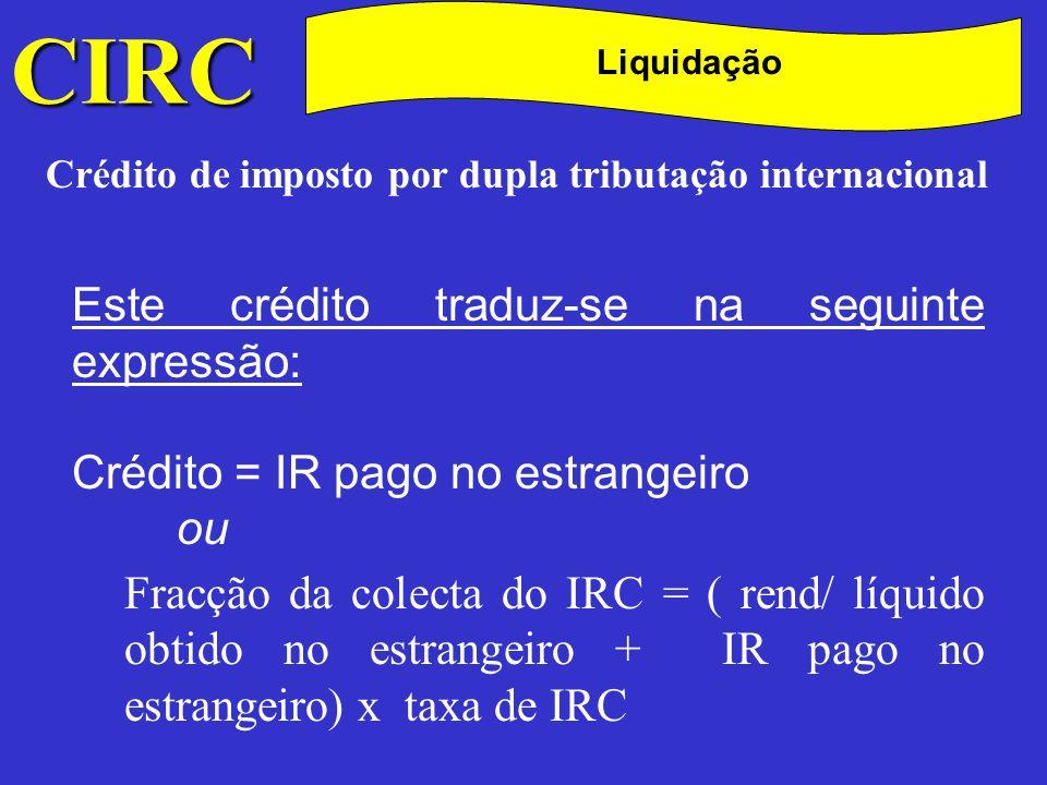 CIRC C Liquidação Crédito de imposto por dupla tributação internacional Exemplo: A sociedade Beta, Lda., com sede em Portugal, obteve em 2000 lucros em país estrangeiro no valor de 1 000 contos, os quais foram tributados nesse país à taxa de 50%, a que corresponderam 500 contos de imposto pago no estrangeiro.