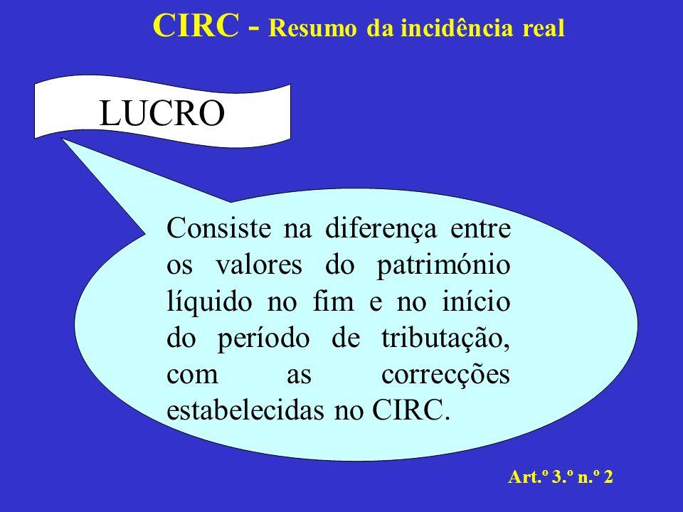 CIRC - Resumo da incidência real Art.º 3.º n.º 1 b) Rendimento global Corresponde à soma algébrica dos rendimentos das diversas categorias consideradas para efeitos de IRS.
