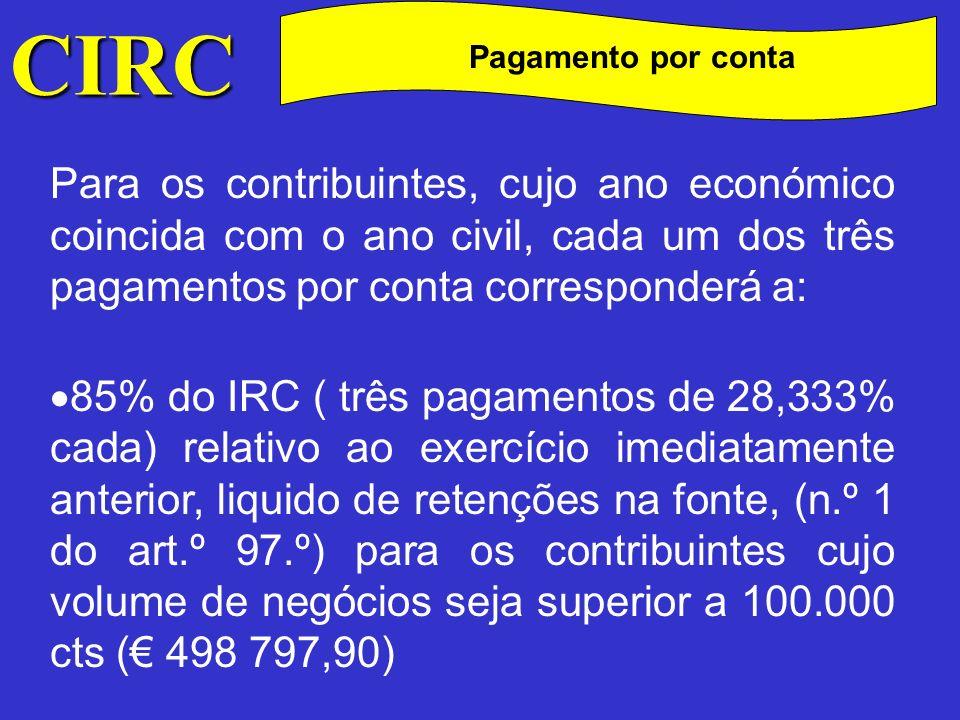 CIRC C Pagamento por conta Os contribuintes, estão dispensados de efectuar pagamentos por conta, quando o imposto do exercício imediatamente anterior for inferior a 40 000$00 (199,52) ( nº4 do art.º 96º).
