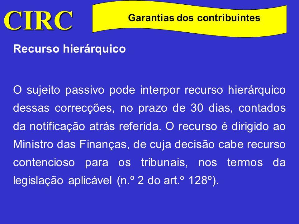 CIRC C Garantias dos contribuintes Recurso hierárquico Os efeitos decorrentes da apresentação do recurso hierárquico são os constantes nos n.
