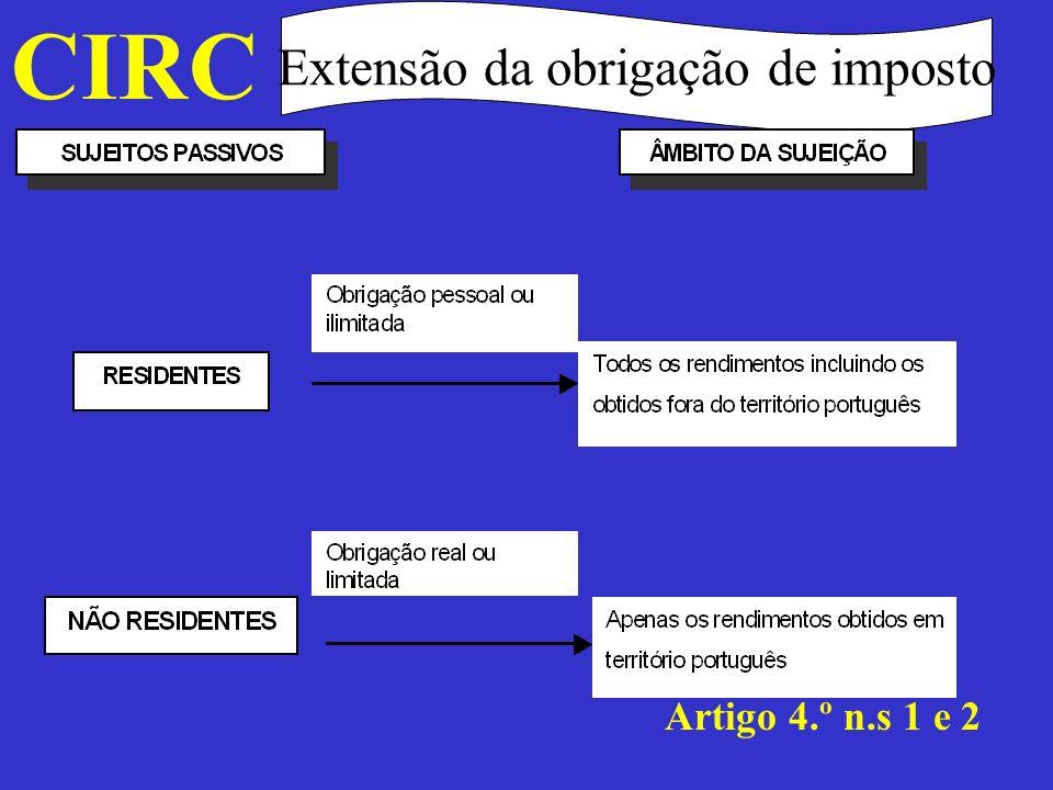 CIRC Extensão da obrigação de imposto Para efeitos do disposto no número anterior, consideram-se obtidos em território português os rendimentos imputáveis a estabelecimento estável aí situado e, bem assim, os que, não se encontrando nessas condições, a seguir se indicam: Artigo 4.º n.