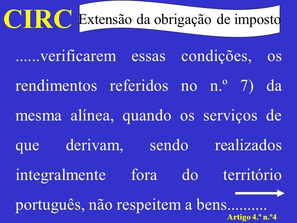 CIRC Extensão da obrigação de imposto Artigo 4.º n.º4......