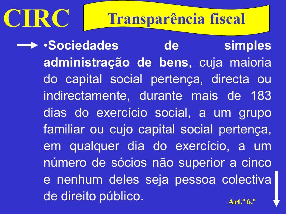 CIRC Art.º 6.º Transparência fiscal É igualmente aplicado aos agrupamentos complementares de empresas (ACE) 1), constituídos e funcionando nos termos da legislação aplicável, e aos agrupamentos europeus de interesse económico (AEIE) (2) com sede ou direcção efectiva em território português.