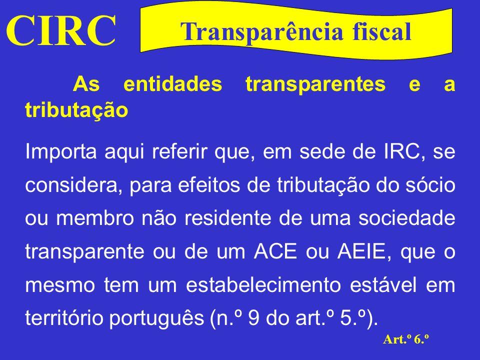 CIRC Art.º 6.º Transparência fiscal As entidades transparentes e a tributação Em sede de IRS, os valores imputados integram-se como rendimento líquido na categoria B.