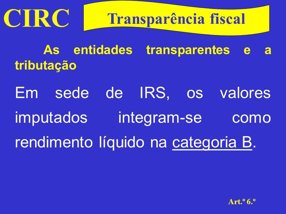 CIRC Art.º 6.º Transparência fiscal As entidades transparentes e a tributação Em termos de sujeição, poder-se-á dizer que se trata de uma sujeição necessária uma vez que o cálculo do valor que irá posteriormente ser imputado aos sócios ou membros respectivos é determinado de acordo com as normas do CIRC, como se de qualquer outro sujeito passivo se tratasse.