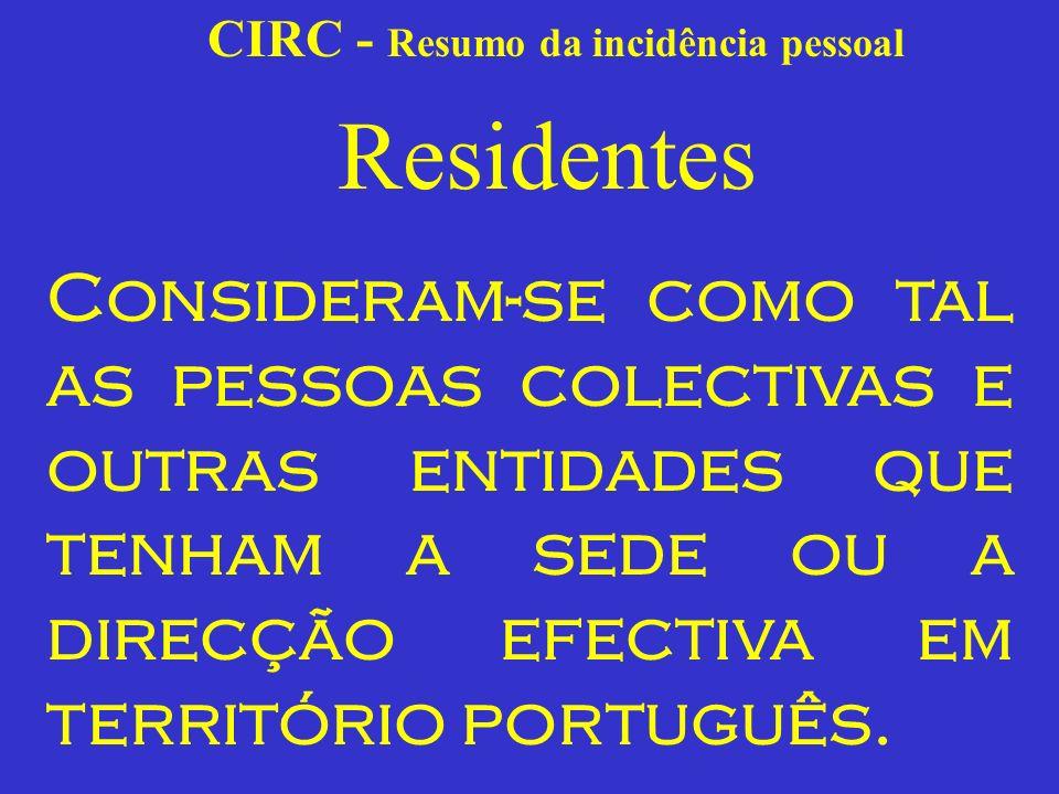 CIRC - Resumo da incidência pessoal Residentes A sede das pessoas colectivas é um conceito jurídico que se contrapõe como figura afim e paralela ao domicílio das pessoas singulares (1).