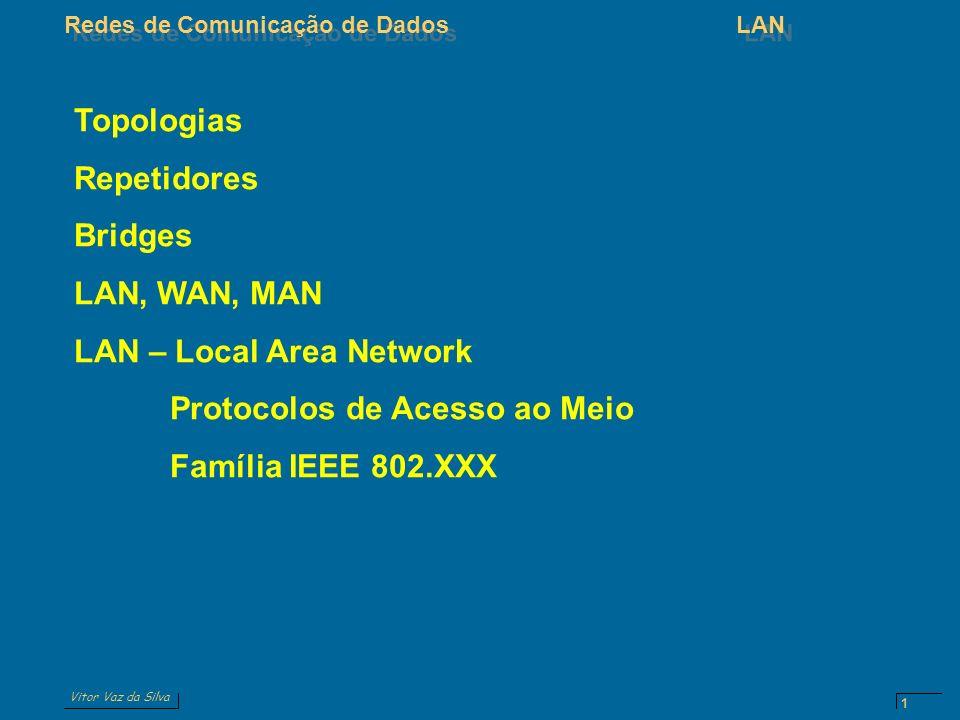 Vitor Vaz da Silva Redes de Comunicação de DadosLAN 1 Topologias Repetidores Bridges LAN, WAN, MAN LAN – Local Area Network Protocolos de Acesso ao Meio Família IEEE 802.XXX