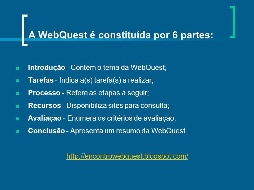 A WebQuest é constituída por 6 partes: Introdução - Contém o tema da WebQuest; Tarefas - Indica a(s) tarefa(s) a realizar; Processo - Refere as etapas