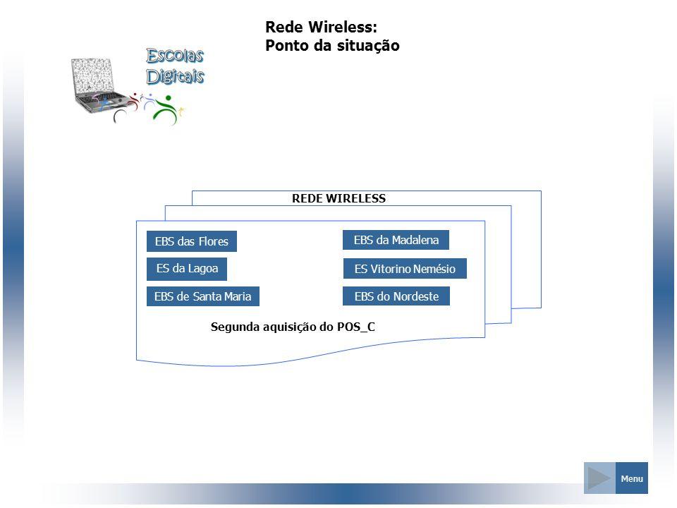 REDE WIRELESS Rede Wireless: Ponto da situação Menu EBS das Flores ES da Lagoa EBS de Santa Maria EBS da Madalena ES Vitorino Nemésio EBS do Nordeste