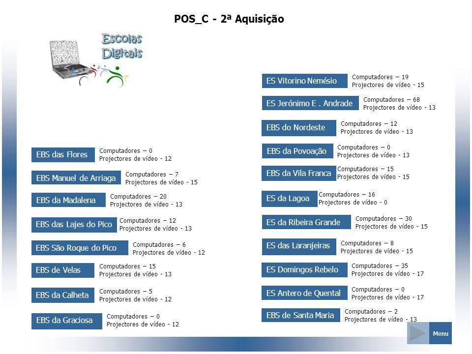 POS_C - 2ª Aquisição EBS das Flores Computadores – 0 Projectores de vídeo - 12 EBS Manuel de Arriaga Computadores – 7 Projectores de vídeo - 15 EBS da
