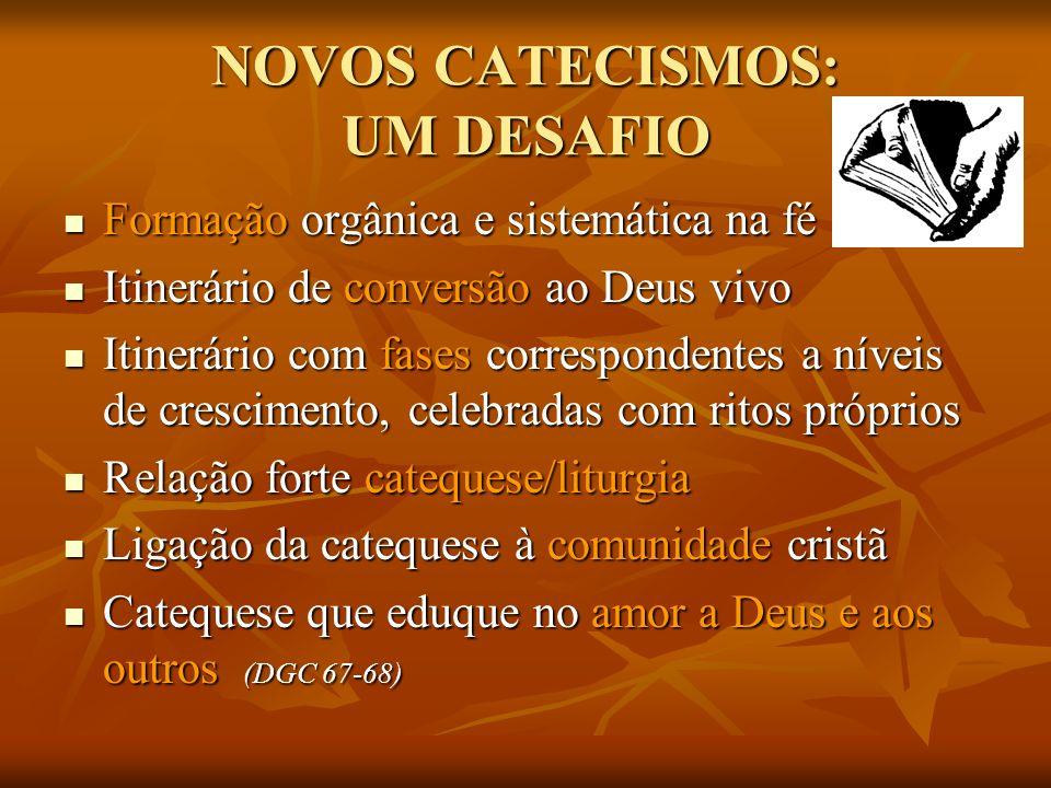 NOVOS CATECISMOS: UM DESAFIO Formação orgânica e sistemática na fé Formação orgânica e sistemática na fé Itinerário de conversão ao Deus vivo Itinerár
