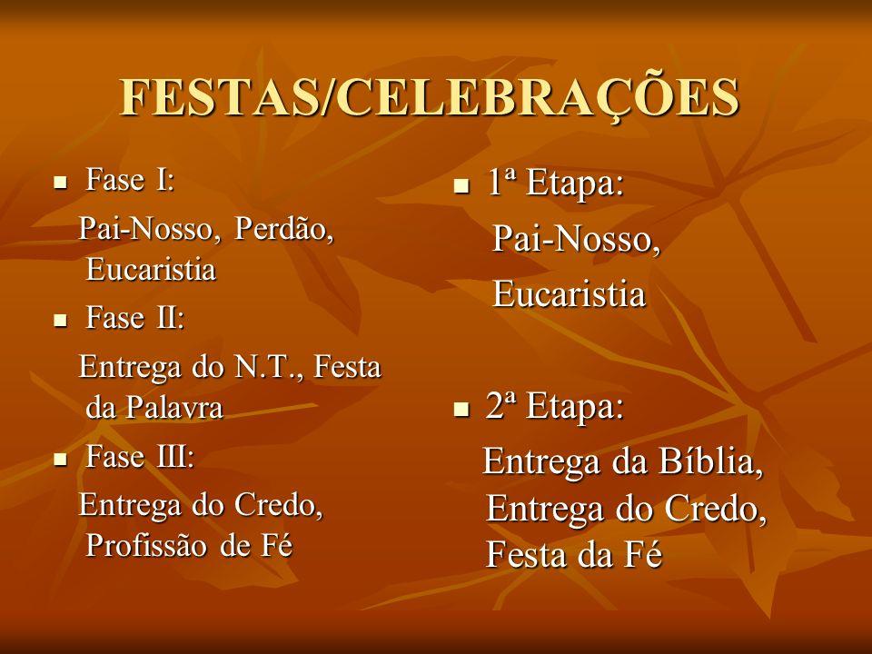FESTAS/CELEBRAÇÕES Fase I: Fase I: Pai-Nosso, Perdão, Eucaristia Pai-Nosso, Perdão, Eucaristia Fase II: Fase II: Entrega do N.T., Festa da Palavra Ent