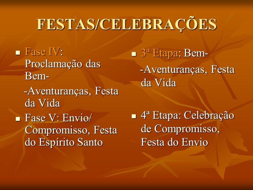 FESTAS/CELEBRAÇÕES Fase IV: Proclamação das Bem- Fase IV: Proclamação das Bem- -Aventuranças, Festa da Vida -Aventuranças, Festa da Vida Fase V: Envio