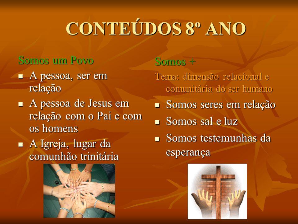 CONTEÚDOS 8º ANO CONTEÚDOS 8º ANO Somos um Povo A pessoa, ser em relação A pessoa, ser em relação A pessoa de Jesus em relação com o Pai e com os home