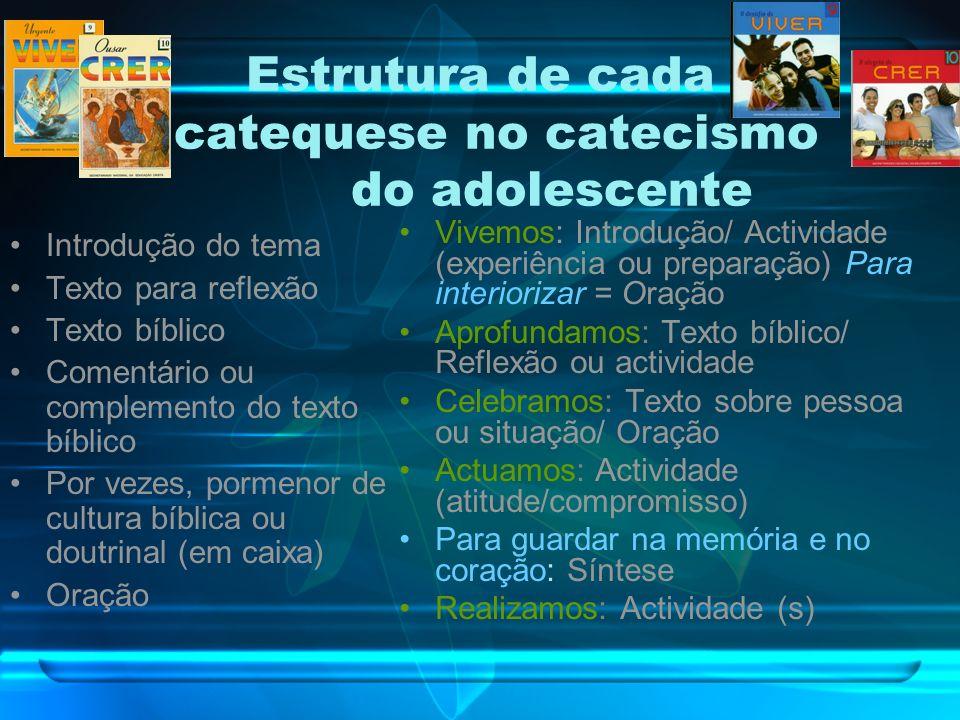 Estrutura de cada catequese no catecismo do adolescente Introdução do tema Texto para reflexão Texto bíblico Comentário ou complemento do texto bíblico Por vezes, pormenor de cultura bíblica ou doutrinal (em caixa) Oração Vivemos: Introdução/ Actividade (experiência ou preparação) Para interiorizar = Oração Aprofundamos: Texto bíblico/ Reflexão ou actividade Celebramos: Texto sobre pessoa ou situação/ Oração Actuamos: Actividade (atitude/compromisso) Para guardar na memória e no coração: Síntese Realizamos: Actividade (s)