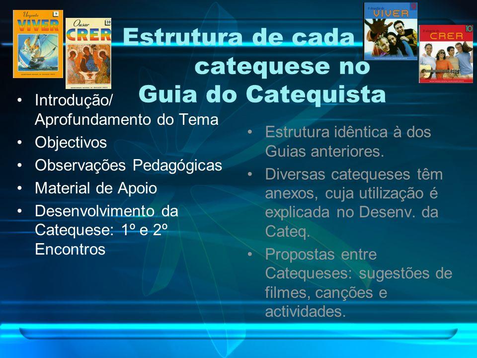 Estrutura de cada catequese no Guia do Catequista Introdução/ Aprofundamento do Tema Objectivos Observações Pedagógicas Material de Apoio Desenvolvimento da Catequese: 1º e 2º Encontros Estrutura idêntica à dos Guias anteriores.