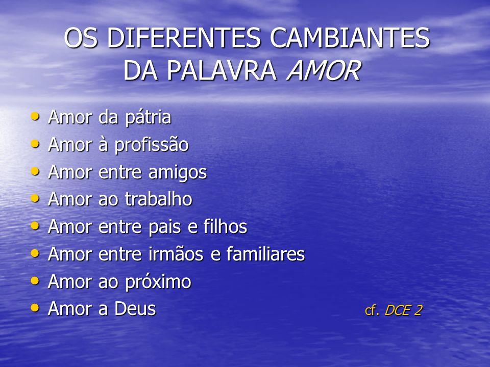 OS DIFERENTES CAMBIANTES DA PALAVRA AMOR OS DIFERENTES CAMBIANTES DA PALAVRA AMOR Amor da pátria Amor da pátria Amor à profissão Amor à profissão Amor