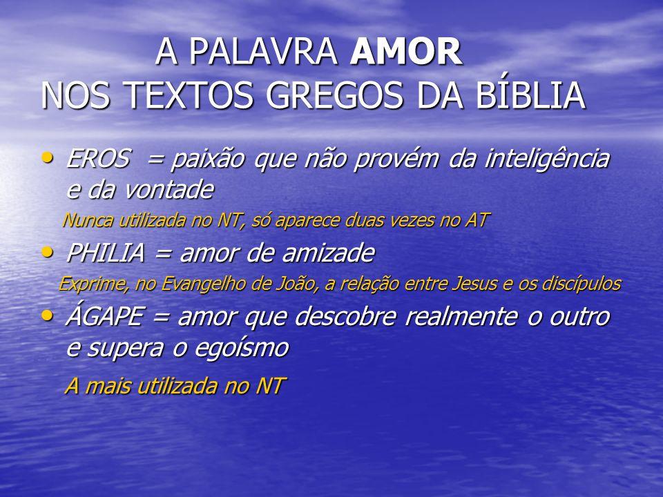 A PALAVRA AMOR NOS TEXTOS GREGOS DA BÍBLIA A PALAVRA AMOR NOS TEXTOS GREGOS DA BÍBLIA EROS = paixão que não provém da inteligência e da vontade EROS =