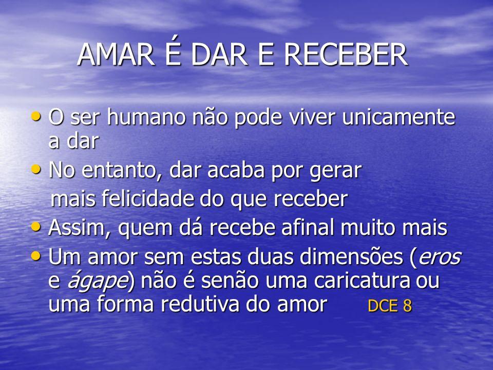AMAR É DAR E RECEBER AMAR É DAR E RECEBER O ser humano não pode viver unicamente a dar O ser humano não pode viver unicamente a dar No entanto, dar ac