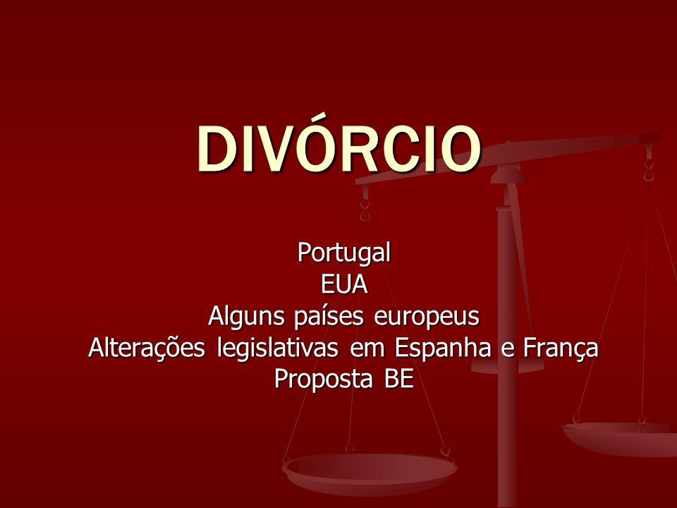 DIVÓRCIO PortugalEUA Alguns países europeus Alterações legislativas em Espanha e França Proposta BE
