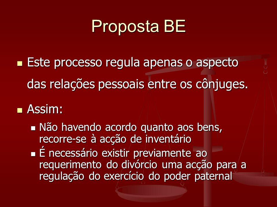 Proposta BE Este processo regula apenas o aspecto das relações pessoais entre os cônjuges.