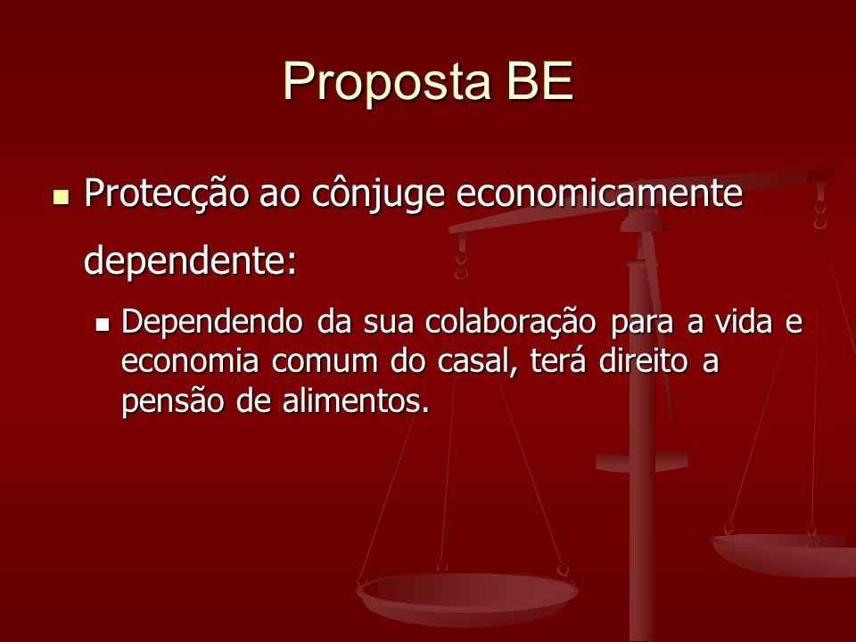 Proposta BE Protecção ao cônjuge economicamente dependente: Protecção ao cônjuge economicamente dependente: Dependendo da sua colaboração para a vida e economia comum do casal, terá direito a pensão de alimentos.