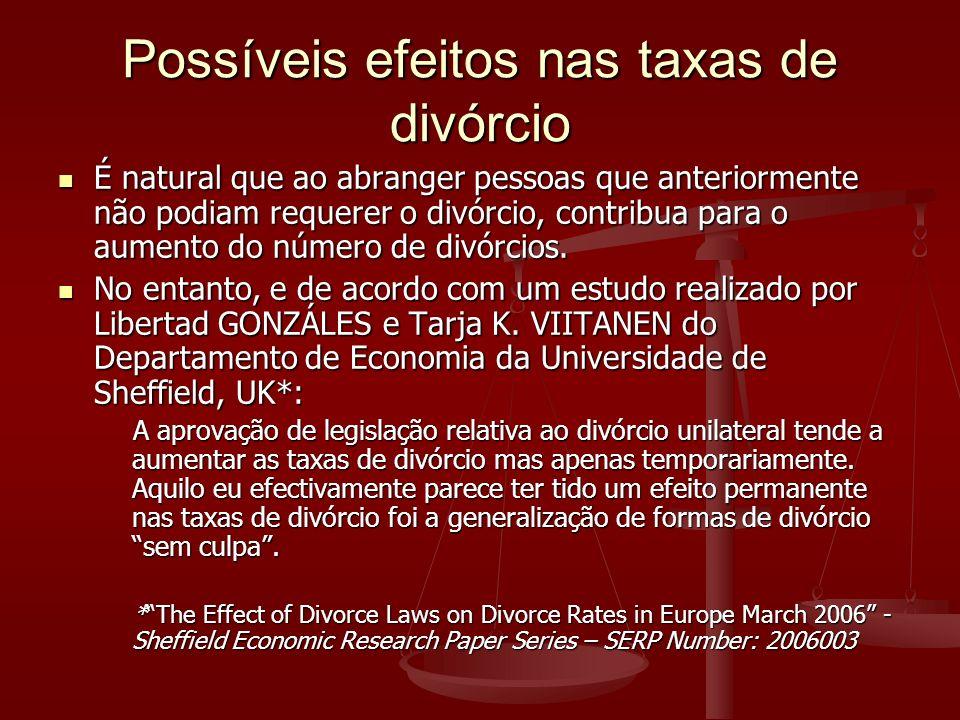 Possíveis efeitos nas taxas de divórcio É natural que ao abranger pessoas que anteriormente não podiam requerer o divórcio, contribua para o aumento do número de divórcios.