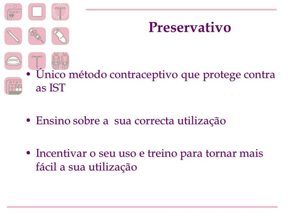 Preservativo Único método contraceptivo que protege contra as ISTÚnico método contraceptivo que protege contra as IST Ensino sobre a sua correcta util