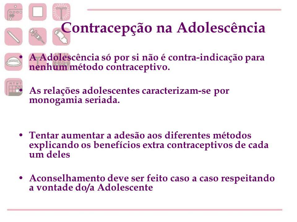 Contracepção na Adolescência A Adolescência só por si não é contra-indicação para nenhum método contraceptivo. As relações adolescentes caracterizam-s