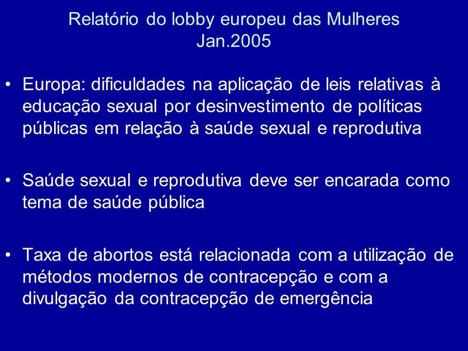 Relatório do lobby europeu das Mulheres Jan.2005 Europa: dificuldades na aplicação de leis relativas à educação sexual por desinvestimento de política