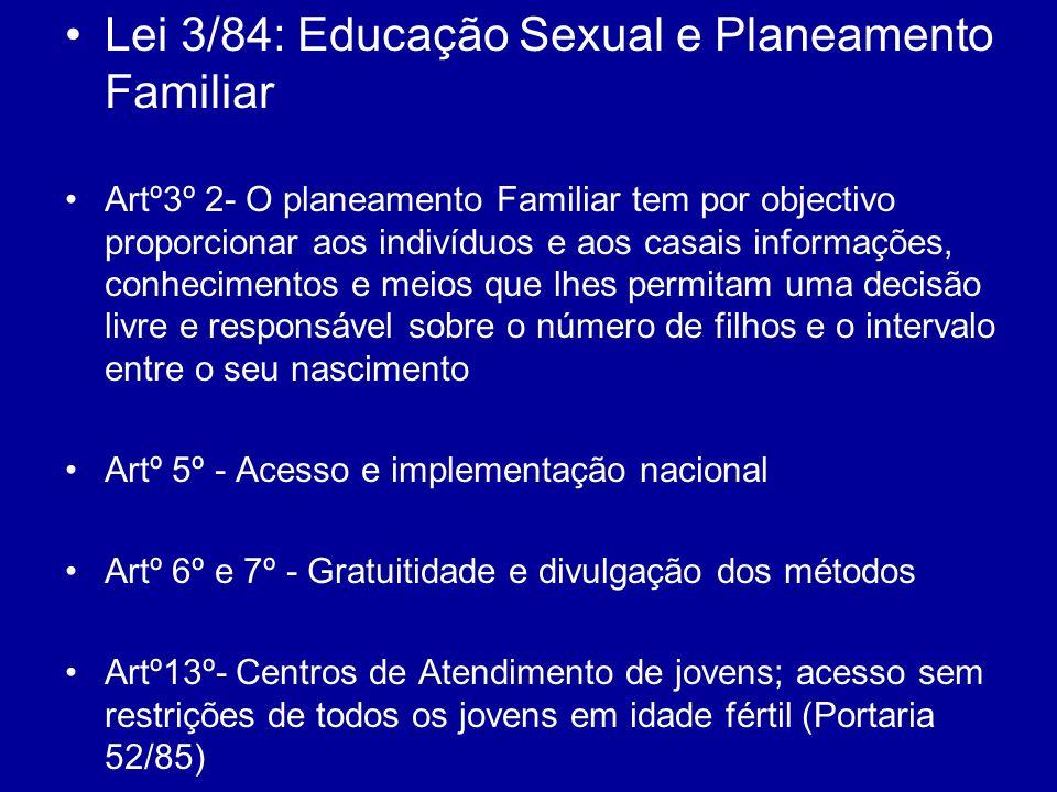 Lei 3/84: Educação Sexual e Planeamento Familiar Artº3º 2- O planeamento Familiar tem por objectivo proporcionar aos indivíduos e aos casais informaçõ