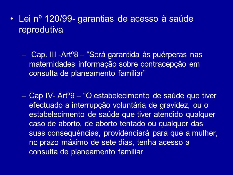 Lei nº 120/99- garantias de acesso à saúde reprodutiva – Cap. III -Artº8 – Será garantida às puérperas nas maternidades informação sobre contracepção