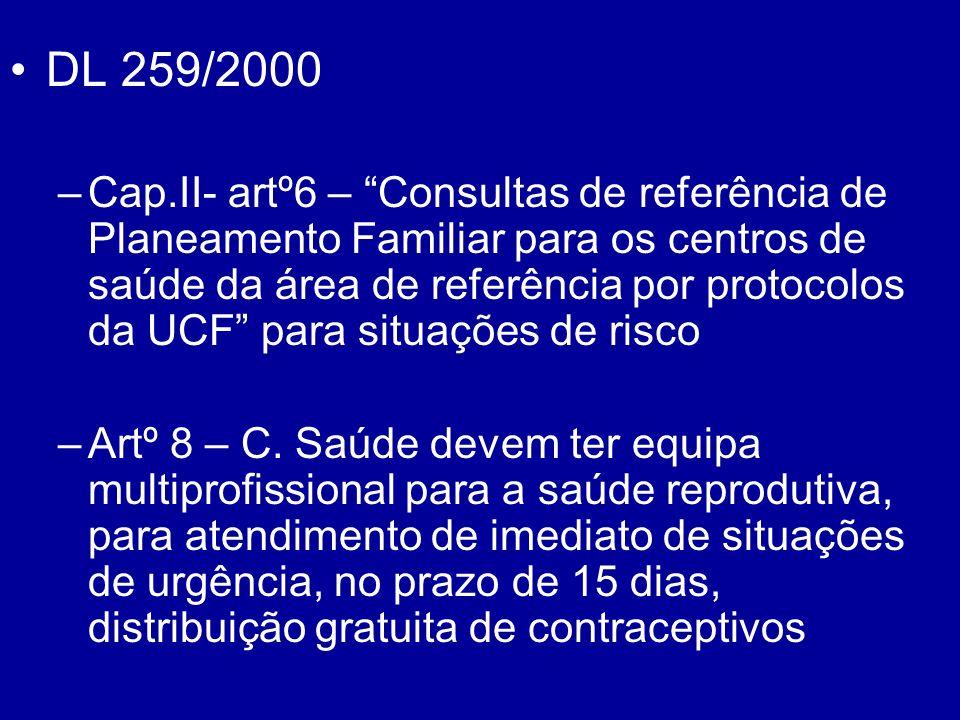 DL 259/2000 –Cap.II- artº6 – Consultas de referência de Planeamento Familiar para os centros de saúde da área de referência por protocolos da UCF para