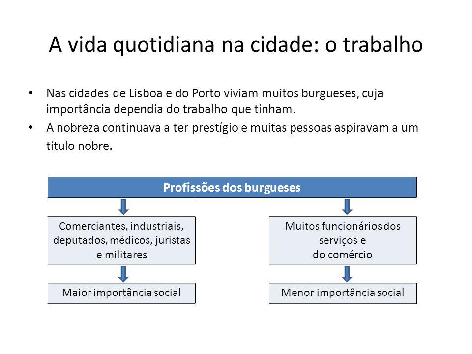 A vida quotidiana na cidade: o trabalho Nas cidades de Lisboa e do Porto viviam muitos burgueses, cuja importância dependia do trabalho que tinham. A