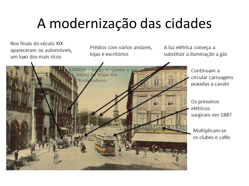 A modernização das cidades Nos finais do século XIX apareceram os automóveis, um luxo dos mais ricos Prédios com vários andares, lojas e escritórios A