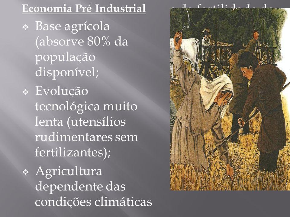 Economia Pré Industrial Base agrícola (absorve 80% da população disponível; Evolução tecnológica muito lenta (utensílios rudimentares sem fertilizantes); Agricultura dependente das condições climáticas e da fertilidade do solo