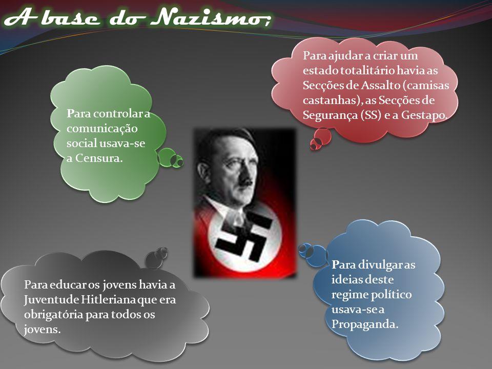Para ajudar a criar um estado totalitário havia as Secções de Assalto (camisas castanhas), as Secções de Segurança (SS) e a Gestapo.