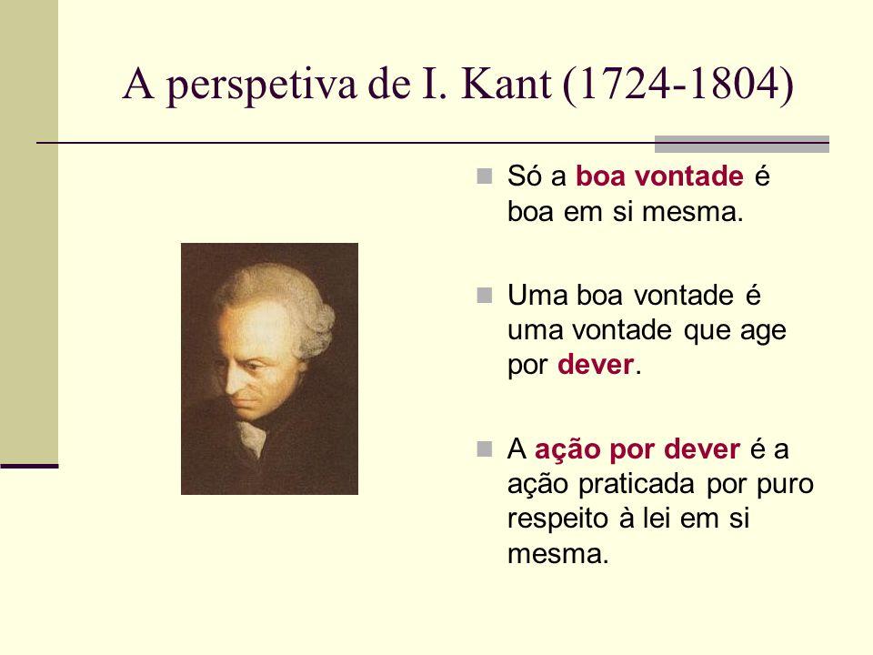 A perspetiva de I.Kant (1724-1804) Só a boa vontade é boa em si mesma.