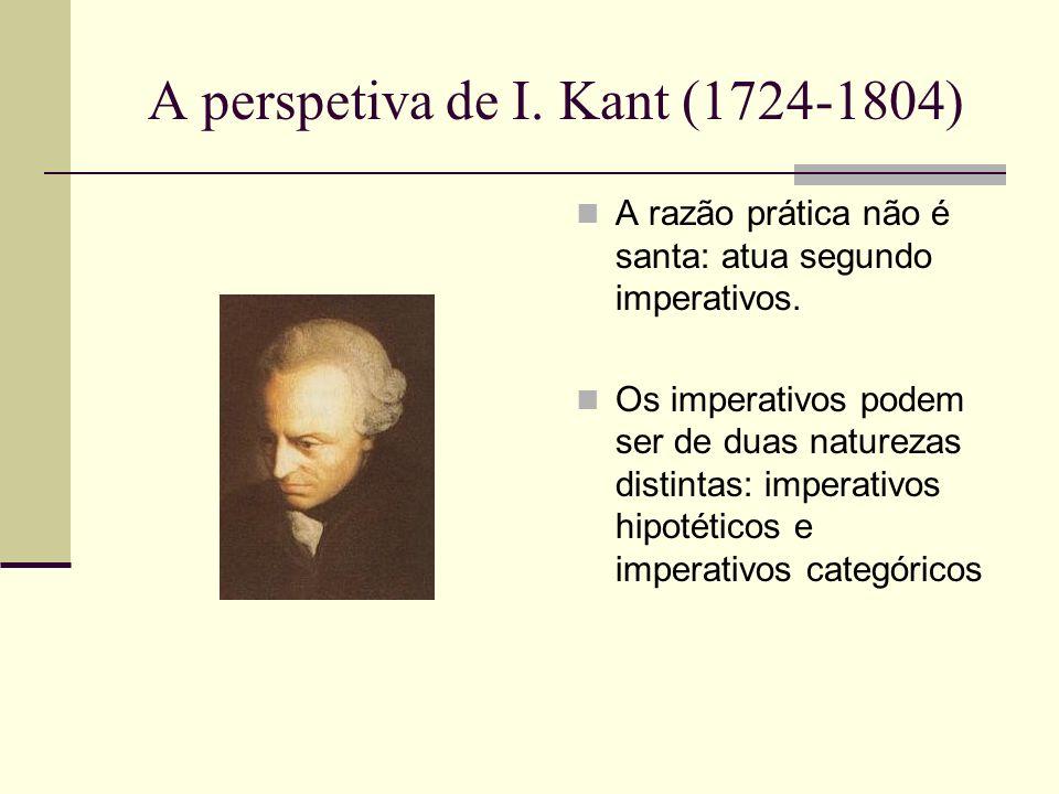 A perspetiva de I.Kant (1724-1804) A razão prática não é santa: atua segundo imperativos.