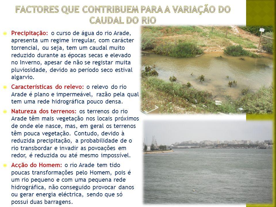 Como sabemos, o rio Arade situa-se e desagua no sul do país (Algarve) e, nesta região o clima é temperado mediterrânico, com Verões muito quentes, longos e secos, Invernos curtos e suaves e com precipitações escassas e irregulares, concentradas no fim de Outubro e no Inverno.